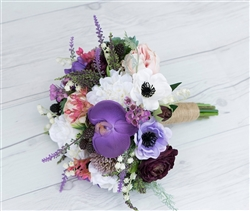 Boho Purple Lavender Succulent Silk Wedding Rustic Bouquet