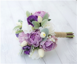 Natural Touch Purple Lilac Peonies, Anemone and Tulips Bouquet