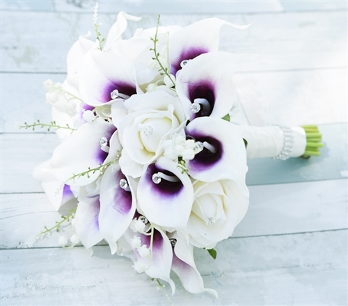 Purple Heart Picasso Callas, Roses Bouquet