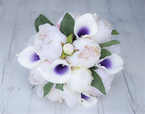 Blush and Purple Heart Peony and Calla Lily Bouquet - Silk and Real Touch Wedding Flower Bouquet