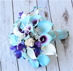 Natural Touch Purple Blue Callas & Morakara Orchids Bouquet - Seashells, Starfish and Bling Brooch Bouquet
