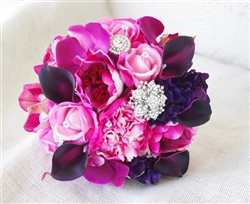 Purple Fuchsia Roses, Peonies, Callas and Orchids Real Touch Silk Wedding Bouquet