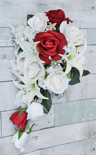 Natural Touch Off White Roses, Red Roses and Lilies Cascading Bouquet