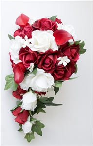 Natural Touch Off White Calla Lilies, Roses & Red Rose Buds Cascading Bouquet