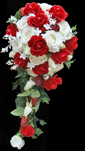 Natural Touch Red & Off White Roses Cascading Bouquet