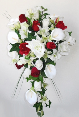 Red Roses Orchids Amp Off White Calla Lilies Cascading Bouquet