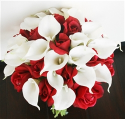 Silk Faux Red Buds Red Touch Callas Lily Bouquet