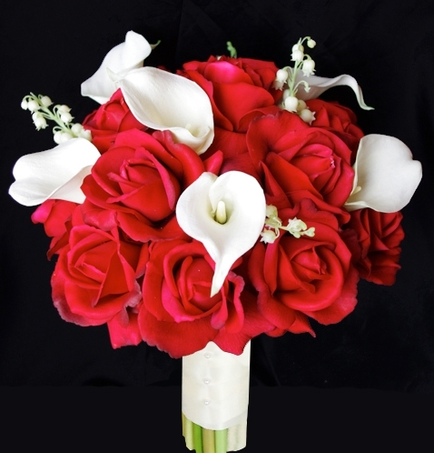 Real Touch Red Open Roses & Off White Calla Lilies Bouquet