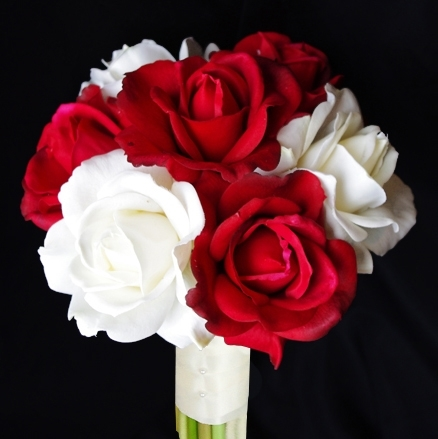 Natural Touch Red and Off White Rose Bouquet