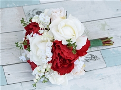 Natural Touch Open Roses & Peonies Silk wedding Bouquet