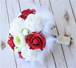 Natural Touch Red Roses and Silk Off White Peonies Feather Silk Wedding Bouquet