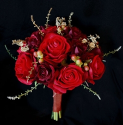 Red Burgundy Roses and Sprays Silk Wedding Flower Bouquet