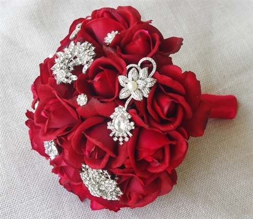 Natural Touch Red Roses & Brooch Jewels