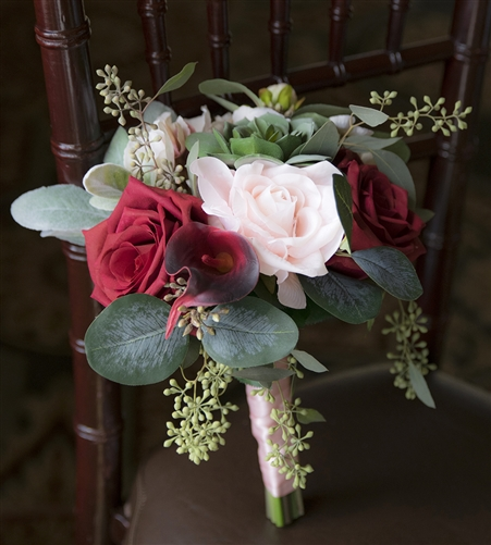 Red, Blush, Succulents and Eucalyptus Sprays Boho Chic Rustic Silk Real Touch Bouquet