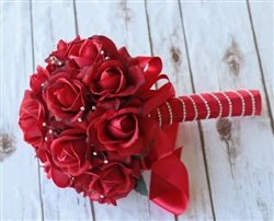 Red Roses and Sparkles Silk Wedding Bouquet - Real Touch Roses