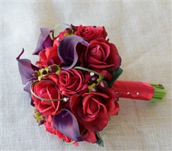 Red Roses and Deep Purple Plum Calla Lily Silk Real Touch Wedding Bouquet