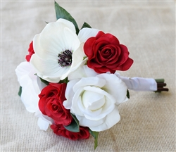 Natural Touch Anemone Red and Off White Roses Silk Wedding Bouquet