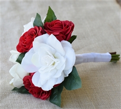 Natural Touch Gardenia Red and Off White Roses Silk Wedding Bouquet