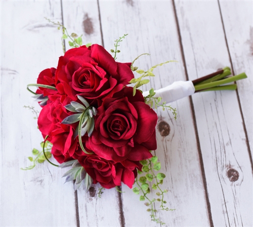 Silk RED Open Roses, Green Sprays and Succulents Bouquet
