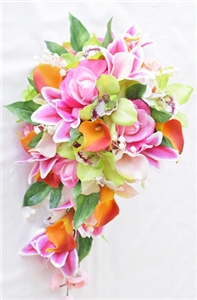 Natural Touch  Green Orchids & Orange Roses Cascading Bouquet