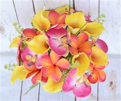 Citrus Tropical Yellow, Orange & Fuchsia Callas, Orchids & Plumerias Real Touch Silk Wedding Bouquet