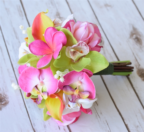 Natural Touch Plumerias, Callas & Orchids Bouquet in Fuchsia Orange and Green Silk Wedding Bouquet