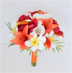 Orange Tropical Bouquet of Natural Touch Lilies, Callas and Plumerias Silk Wedding Flowers