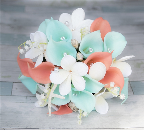 Tiffany Coral Plumerias & Callas Beach Starfish Silk Wedding Real Touch Bouquet