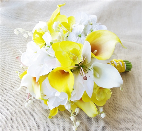 Natural Touch Yellow Callas, Lilies and Orchids Bouquet