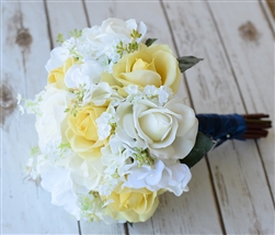 Natural Touch Off White & Yellow Roses and Hydrangeas Silk Wedding Real Touch Bouquets