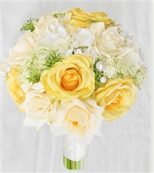 Yellow & Cream Champagne Roses, Off White Hydrangeas and Roses Mix
