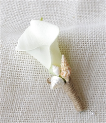 Real Touch Calla Lily Boutonniere in Any Color - Beach Starfish Seashell Silk Wedding Boutonniere