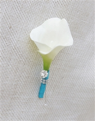 Real Touch Calla Lily Boutonniere in Any Color - Brooch Bling Jewel Silk Wedding Boutonniere