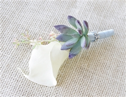 Boho Rustic Real Touch Calla Lily Boutonniere in Any Color - Succulent Silk Wedding Boutonniere