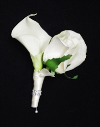 Real Touch Calla Lily and Rose Boutonniere in Any Color  - Elegant Silk Boutonniere