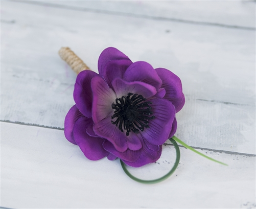 Real Touch Anemone Poppy  Boutonniere in Any Color  - Elegant Silk Wedding Boutonniere