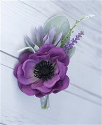 Real Touch Anemone Poppy  Succulent Boutonniere in Any Color  - Elegant Silk Wedding Boutonniere