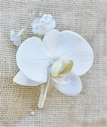 Real Touch Calla Lily and Orchid Boutonniere in Any Color  - Tropical Silk Boutonniere
