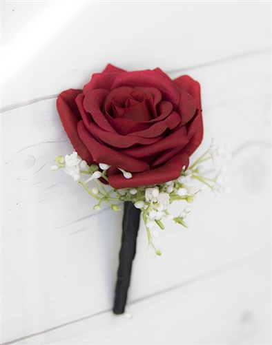 Real Touch Rose Bud Boutonniere in Any Color  - Elegant Silk Boutonniere
