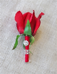 Real Touch Rose Bud Brooch Boutonniere in Any Color  - Elegant Silk Boutonniere