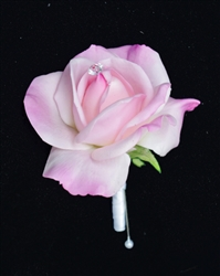 Real Touch Rose Silk Wedding Boutonniere in Any Color  - Elegant Silk Boutonniere