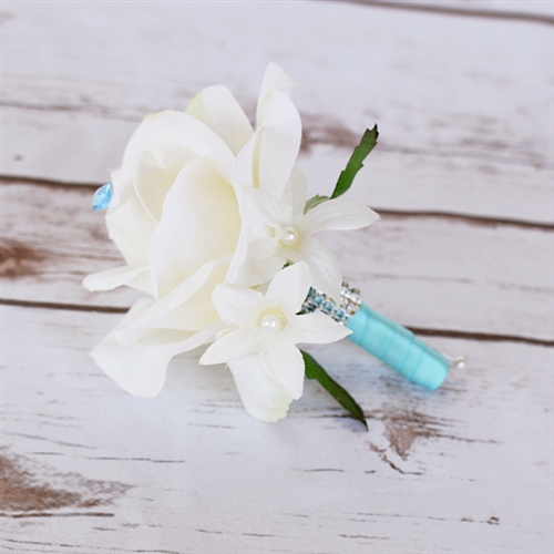 Real Touch Rose Brooch Silk Wedding Boutonniere in Any Color  - Elegant Silk Boutonniere