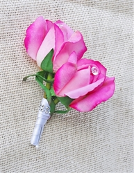 Real Touch Rose Bud Silk Wedding Boutonniere in Any Color  - Elegant Silk Boutonniere