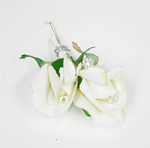 Real Touch Rose Bud  Brooch Silk Wedding Boutonniere in Any Color  - Elegant Silk Boutonniere