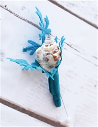 Seashells Boutonniere - Seashell Boutonniere for a Beach Wedding with Coral Branches