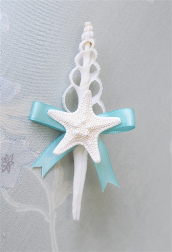 Starfish Seashell Beach Nautical Wedding Boutonniere - Seashell Wedding