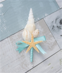 Starfish Seashells Beach Nautical Wedding Boutonniere - Seashell Wedding