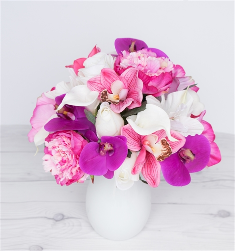 Calla Lilies, Peonies and Orchids Beach Tropical Centerpiece Arrangement