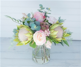 King Protea and Peonies Boho Chic Tropical Centerpiece Arrangement