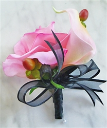 Real Touch Calla Lily and Rose Corsage in Any Color